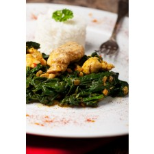 Chicken Strips with Cream Spinach high-protein dish